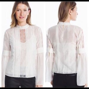 WHBM White Lace Long Sleeve Celine Victorian Top